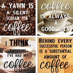 Items similar to Coffee Lover Quotes. Handmade Coasters on Etsy Handmade coffee coasters with true statements. Coffee Shop, Coffee Wine, Coffee Talk, Coffee Is Life, I Love Coffee, My Coffee, Coffee Drinks, Coffee Cups, Happy Coffee