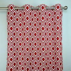 Rouge à lèvres rouge blanc treillis géométrique Nicole rideaux - œillet - 84 96 108 ou 120 Long par 25 ou 50 panne large facultatif ou la doublure de coton
