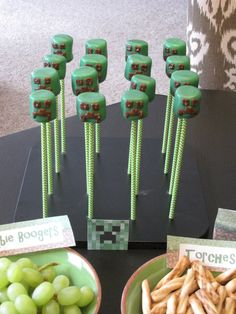 Minecraft Birthday Party Cake Pops with Sweets and Treats Chevron Lime Paper Straws. For more great party ideas visit GetThePartyStarted at www.getthepartystarted.etsy.com