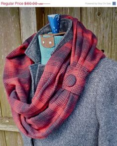 Welcome winter with plaid! This infinity style scarf is made of red and black soft brushed cotton flannel plaid fabric, and features a gathered button