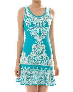 Damask Print Sleeveless Knit Dress from The Shopping Bag