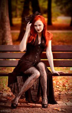 "Redhead Lolita - With my precious ""Gothic lolita"" Kasia (Revena) Nylons, Sitting Poses, Steampunk Cosplay, Redhead Girl, Confident Woman, Beautiful Redhead, Dark Beauty, Model Photographers, Gothic Lolita"