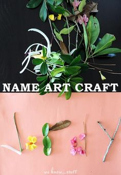 A Kids Nature Hunt is one of the best ways to explore your neighborhood. This creative nature art craft will spark your child's imagination and help younger children learn how to spell and write their names!