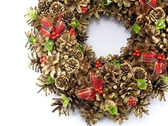 Christmas Wreath Gold Wreath Ornament Wreath by ZielonePalce