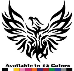 Phoenix Vinyl Sticker Decal is designed professionally and cut from high quality vinyl sheet with 7 years exterior life. Tribal Animal Tattoos, Tribal Phoenix Tattoo, Tribal Animals, Phoenix Tattoo Design, Tribal Drawings, Window Stickers, Bumper Stickers, Car Decals, Black Panther Marvel