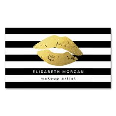 Gold Lips with Black White Stripes - Makeup Artist Double-Sided Standard Business Cards (Pack Of 100). This is a fully customizable business card and available on several paper types for your needs. You can upload your own image or use the image as is. Just click this template to get started!