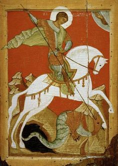 Novgorod School - Icon of St. George and the Dragon