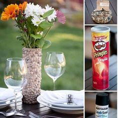 Pringles can vase… This is a neat idea. I don't like the stones but fabric would be cute if you hid it well enough