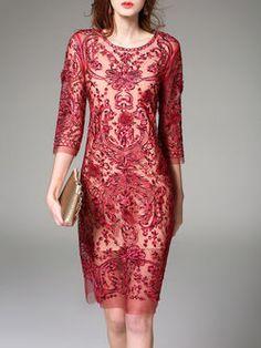 3/4 Sleeve Sheath Floral Polyester Casual Midi Dress