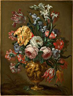 Bartolomeo Bimbi (Settignano 1648 - Firenze 1730) Fiori in un vaso istoriato Olio su tela cm. 44 x 57,5 Collezione privata Giuseppe Arcimboldo, Large Canvas, Art Market, Chinoiserie, Flower Vases, Still Life, Objects, Modern Vases, Gardens