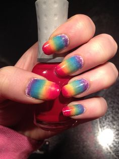 Rainbow nails done with a makeup sponge!