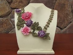 Dust Pink Lilac Floral Crochet Flower Necklace by needlecrochet, $120.00