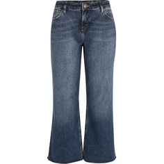 River Island Mid wash cropped raw hem flare jeans (2690 RSD) ❤ liked on Polyvore featuring jeans, blue, sale, tall flare jeans, tall jeans, medium wash jeans, river island and blue jeans