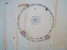 Collana girocollo in vetro di Murano rosa e cristalli, idea regalo collana, collana donna, collana per lei, vetro di Murano