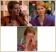 Miranda's looks in Season 4 Episode 11: Coulda, Woulda, Shoulda. love her orange bangle | #fashion #mirandahobbes #sexandthecity