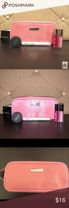 """Bare Minerals & ULTA Beauty Beauty Bundle New Bare Minerals & ULTA Beauty Beauty Bundle: Bare Minerals Sample """"Mineral Veil,"""" mini ULTA Beauty pink lip matte, ULTA Beauty mini Pink Shiny Lipgloss and ULTA Beauty Lip Primer. Plus New Branded Bare Minerals Pink Cosmetic bag! Bag measures approximately 7 inches length and 3.5 inches height.  bare Minerals Makeup"""