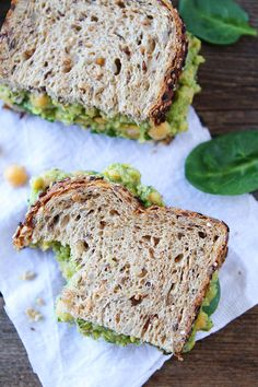Smashed Chickpea, Avocado, and Pesto Salad Sandwich Recipe on twopeasandtheirpod.com My favorite sandwich! You have to try this one!