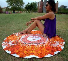 Sun Rays Mandala Indian Handmade Beach Throw Meditation Round Yoga Mat Tapestry | eBay