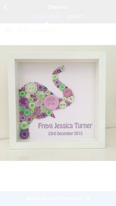 Elephant Button Picture - Personalised Baby Gift. Safari Animal Nursery Decor. Mint and lilac buttons with name and birthdate. Handmade by Button People http://instagram.com/buttonpeople https://www.facebook.com/buttonpeople/