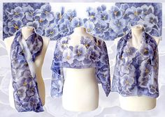 Silk scarf Pansy hand painted scarf violet scarf di MinkuLUL