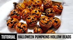 DIY How to make Polymer clay Halloween Pumpkins Hollow beads- Full Proce...