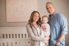 At home #family portrait in #baby #nursery. From Massey's 1 year #photo session! #nashville #girl Photo by Krista Lee