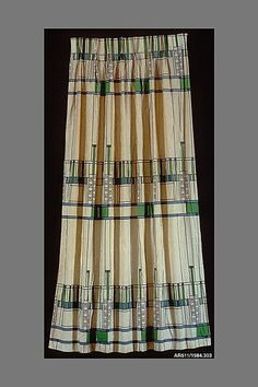 """Curtain designed by Frank Lloyd Wright (1857-1959). Printed cotton textile, 83-1/2"""" x 30-1/2 inches. Metropolitan Museum of Art, Gift of David A. Hanks."""