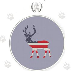 Modèle de point de croix moderne cerf & drapeau americain  - grille point de croix pdf à télécharger de la boutique LaGriffeDeLours sur Etsy