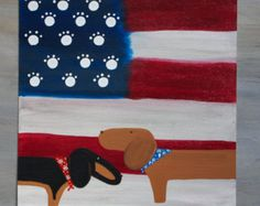 Dachshund Fall Autumn Art  Acrylic Paint Canvas 36 x 24 inches Vibrant colorful Fall art Painted with my copyrighted doxie art Great gift for doxie lovers or to decorate your home Not sold in stores Unique items Inspired by my recent visit to the Blue Ridge Mountains in North Carolina and my doxies  With a ribbon in the back to hang Shipping in the US 20.00  keep an eye on my new items coming in soon also if you like this set and want one, with different color doxie, you can request it and I…