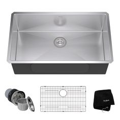 KRAUS Undermount Stainless Steel 32 in. Single Basin Kitchen Sink Kit-KHU100-32 - The Home Depot