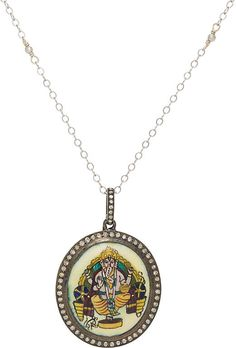 We Adore: The Diamond-Embellished Ganesh Pendant Necklace from Feathered Soul at Barneys New York Ganesh Pendant, Oxidized Sterling Silver, Gold Beads, Necklace Designs, Designing Women, White Gold, Pendant Necklace, Diamond, York