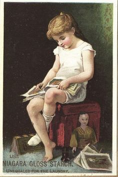 Little reader (Victorian Trade Card for Niagara Starch) Vintage Children's Books, Vintage Ephemera, Vintage Cards, Vintage Posters, Reading Art, Woman Reading, I Love Reading, People Reading, Book People