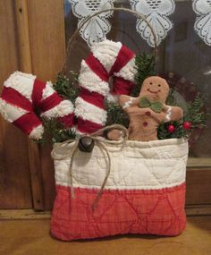 Prim Decorative CHRISTMAS Pocket  from Antique QUILT - Candy Canes Gingerbread #NaivePrimitive #Artist
