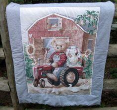 Vintage Teddy Bear Quilt Handmade John Deere by NormasTreasures, $59.86