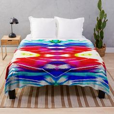 Vibrant red and teal abstracto Throw Blanket,bold and colorful to brighten your day