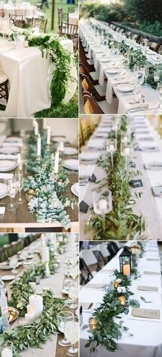 fresh greenery wedding table runners inspiration for reception mountain wedding fall, mountain wedding decor, mountain themed wedding, mountain wedding colors, Wedding Table Decorations, Wedding Centerpieces, Wedding Bouquets, Greenery Centerpiece, Decor Wedding, Long Table Wedding, Wedding Reception, 2017 Wedding, Rustic Wedding