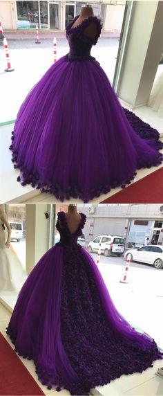 purple flower wedding dresses ball gowns,so lovely