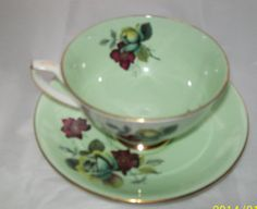 Vintage Royal Stafford   green with rose design by NewtoUVintage