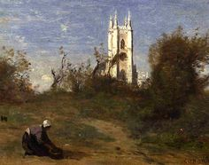 Landscape with a White Tower, Souvenir of Crecy, 1874 Camille Corot