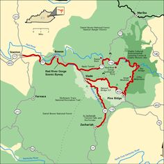 Red River Gorge Loop Drive: 46 mile National Byway route on KY 11,77,715 & KY 15, passing through the Nada Tunnel and old logging railroad tunnel along the Red River. Over 150 natural sandstone arches in the area and three waterfalls in the gorge.