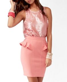 Pink pailette top, perfect underneath this fall's jackets...