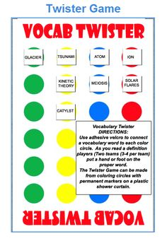 I love new twists on old games. Vocab Twister can be used in any classroom because you choose the vocabulary. #literacy