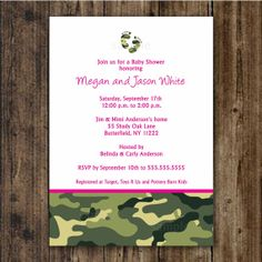 Pink and Green Camo Baby Shower Invitation / by lemontreecards, $12.50