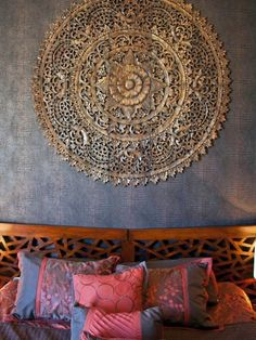 Asian Bedroom Design, Pictures, Remodel, Decor and Ideas - page 7 I'd paint that Mandala! Asian Bedroom, Oriental Bedroom, Oriental Decor, Oriental Design, Bedroom Furniture, Bedroom Decor, Master Bedroom, Bedroom Colors, Girls Bedroom