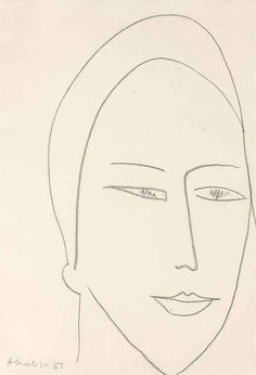 Henri Matisse (French, 1869-1954), Visage féminin, 1951. Charcoal on paper, 51.5 x 36cm.