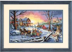 Dimensions Pleasures of Winter - Cross Stitch Kit. A sleigh ride is the perfect ending to a cold, snowy day. This exquisite design is stitched using both full a