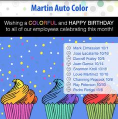 This #workerwednesday, we want to wish a happy birthday to all of our October birthday team members! We hope your day is spectacular, from all of us at Martin Auto Color!