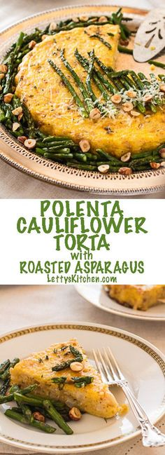 Vegetarian Polenta Cauliflower Torta with Roasted Asparagus.