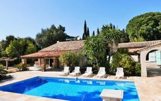 Beautiful Luxury Villa For Sale in GRIMAUD on French Riviera. Litle view over the sea. Reference no. Cool Swimming Pools, Best Swimming, Jacuzzi Outdoor, French Riviera, Luxury Villa, Bed And Breakfast, Townhouse, Property For Sale, Terrace