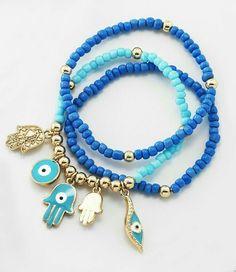 beaded bracelets with lovely charms Bracelet Love, Evil Eye Bracelet, Seed Bead Bracelets, Jewelry Bracelets, Charm Jewelry, Jewelry Crafts, Beaded Jewelry, Beaded Necklace, Jewelry Accessories